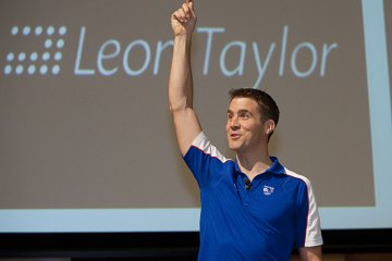 Leon Taylor talking at RHUL